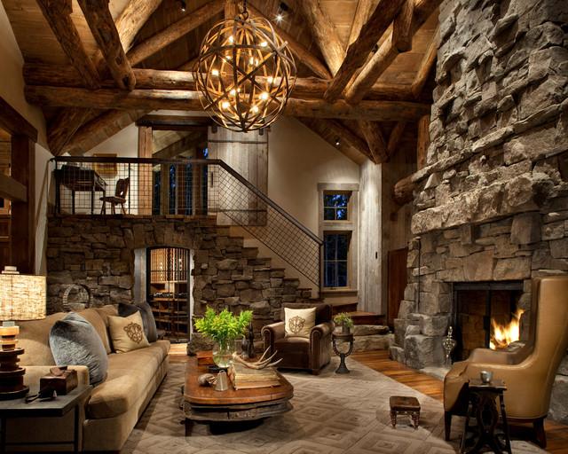 Great Room Rustic Living Room