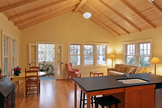 Great room, view to entry beach-style-living-room