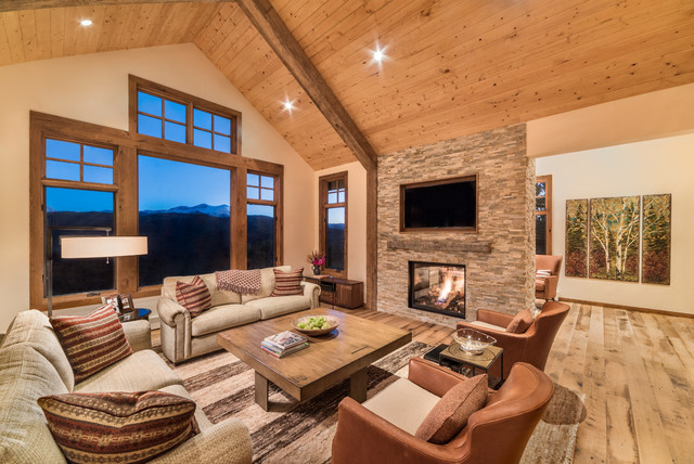 Great room with addition rustic living room denver for Great room addition plans
