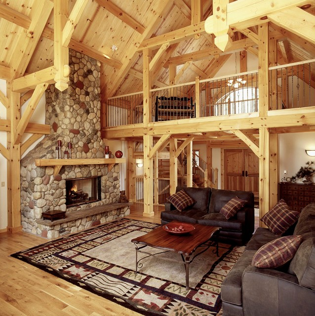 Great Room With Loft In Timberframe Ski Home Rustic
