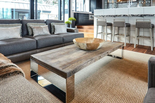 Great Room With Reclaimed Wood And Chrome Coffee Table Modern Living
