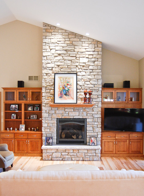 Great room with stone fireplace to ceiling - Traditional ...