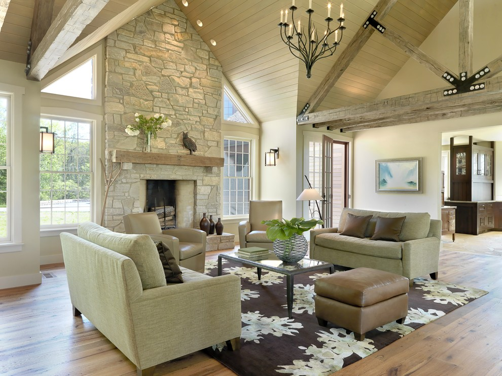 Inspiration for a timeless open concept living room remodel in St Louis with a standard fireplace, a stone fireplace, no tv and beige walls