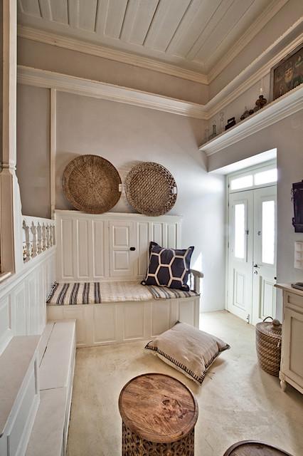 Greek Island White House, The Orange Patio Mediterranean Living Room