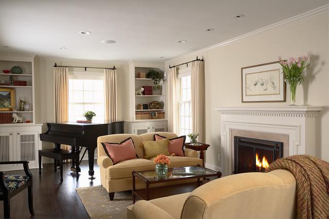 Greek Revival Remodel Living Room Traditional Living