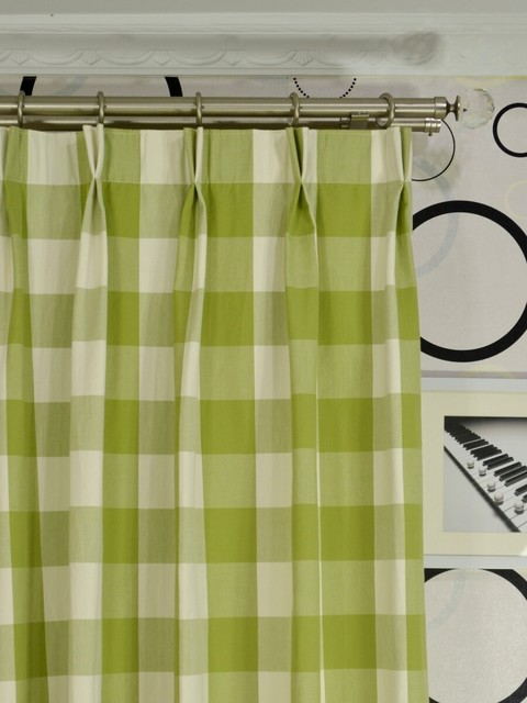 Green Checks Double Pinch Pleat Cotton Curtains modern-living-room