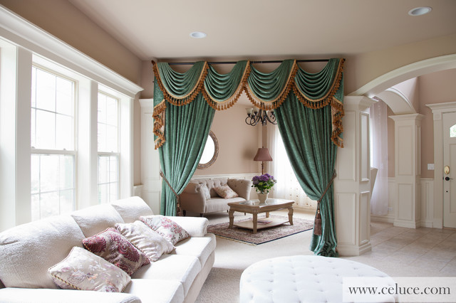 green chenille swag valance curtains by