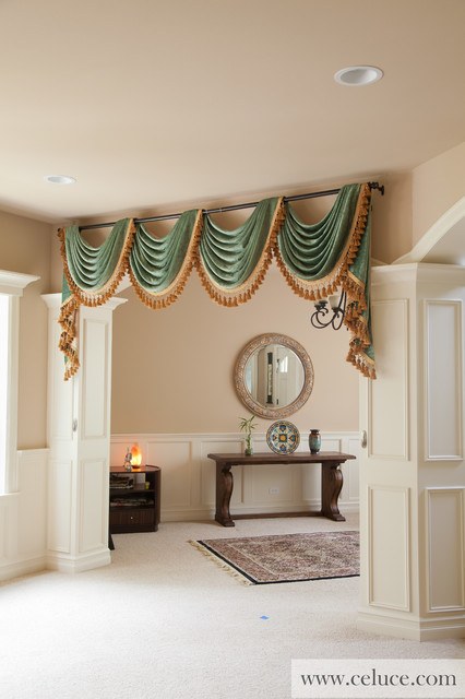 green chenille swag valance curtains by celuce