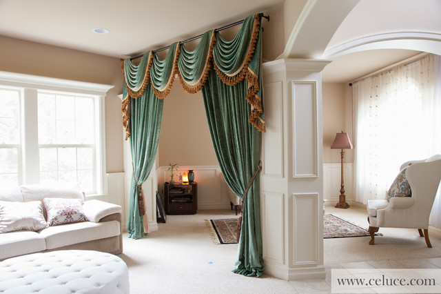 Green chenille swag valance curtains by - Houzz window treatments living room ...