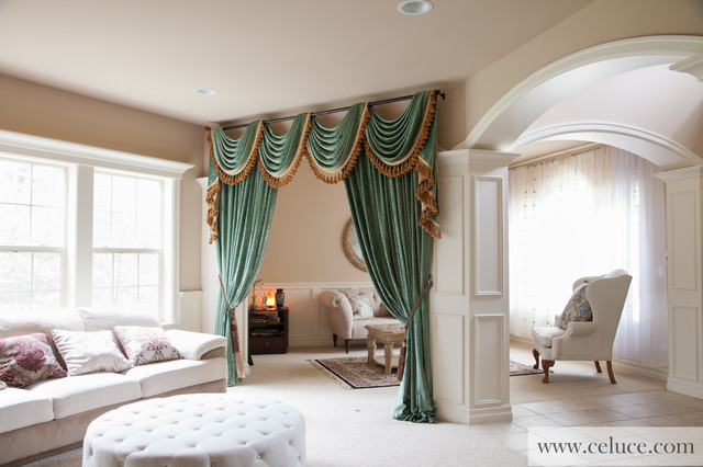 Swag valance curtains modern living room seattle by celuce