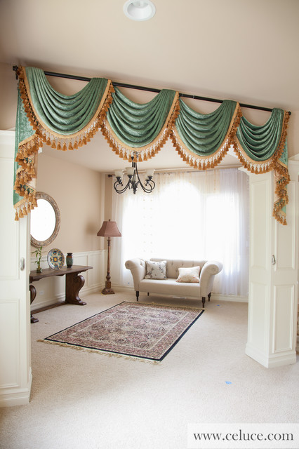 Green Chenille Swag Valance Curtains - Modern - Living Room ...