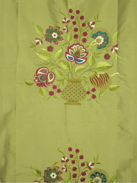 Green Custom Made Embroidered Dupioni Silk Curtains modern-living-room