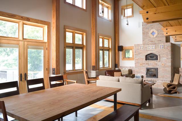 Beautiful Green Dirt Farm   Family Room With Tulikivi Masonry Heater Rustic Living  Room