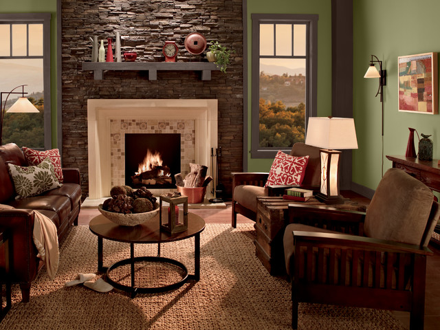 Green Living Room Rustic