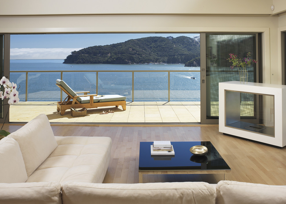 Example of a trendy open concept living room design in San Francisco