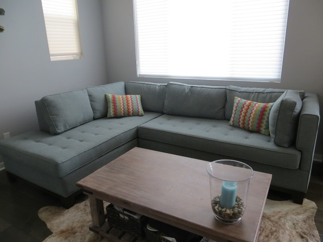 Green Sectional W/ Bench Tufting | The Sofa Company Transitional Living Room Amazing Design