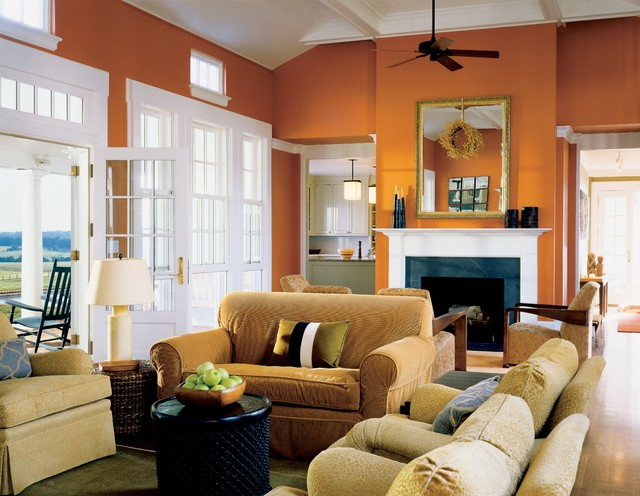 Country Living Room Photo In Richmond With Orange Walls And A Standard  Fireplace Part 50
