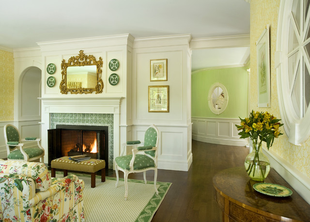 Green Tea Traditional Living Room Boston By Siemasko