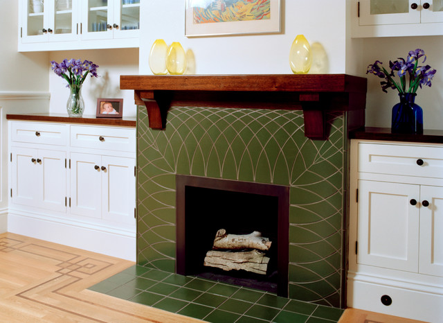 Green Tile Fireplace With Wood Mantel Traditional Living Room