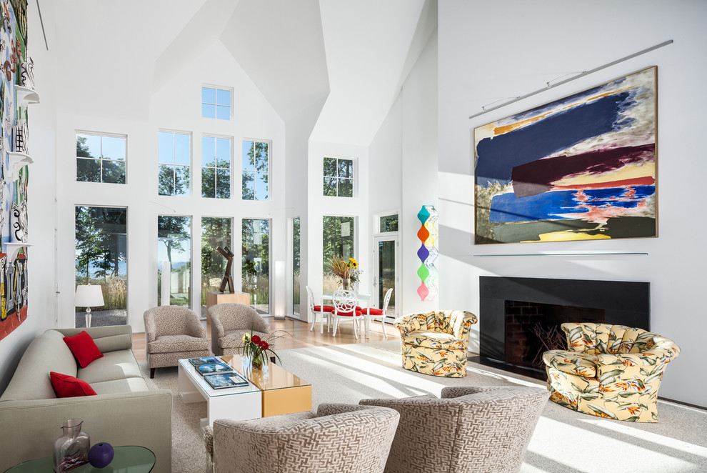 Large trendy formal and open concept carpeted living room photo in DC Metro with white walls and a ribbon fireplace