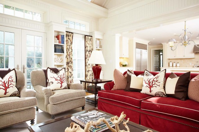 Marvelous Example Of A Large Coastal Open Concept Medium Tone Wood Floor Living Room  Design In New