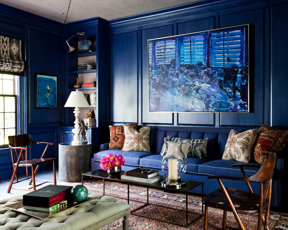 Living room - eclectic formal living room idea in New York with blue walls