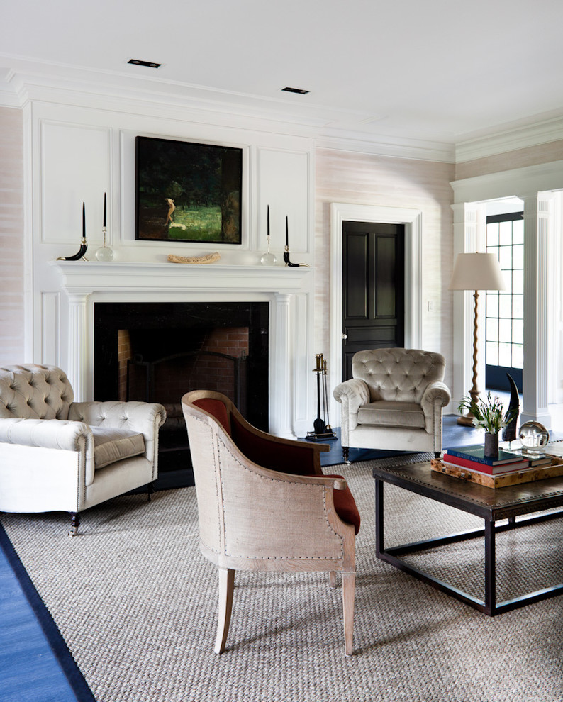 Transitional formal blue floor living room photo in New York with a standard fireplace