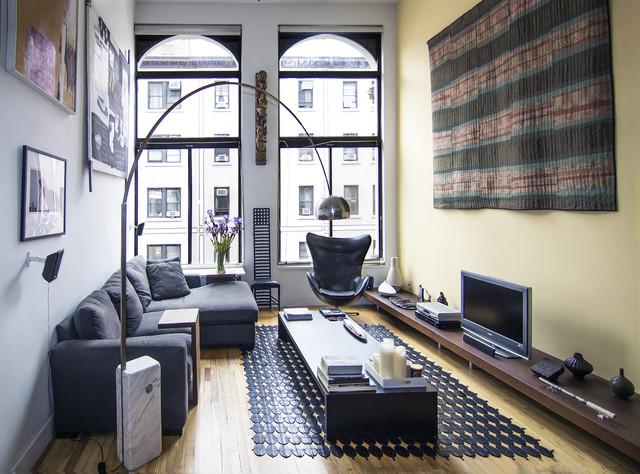 Amazing Example Of A Small Minimalist Formal Medium Tone Wood Floor And Brown Floor Living  Room Design