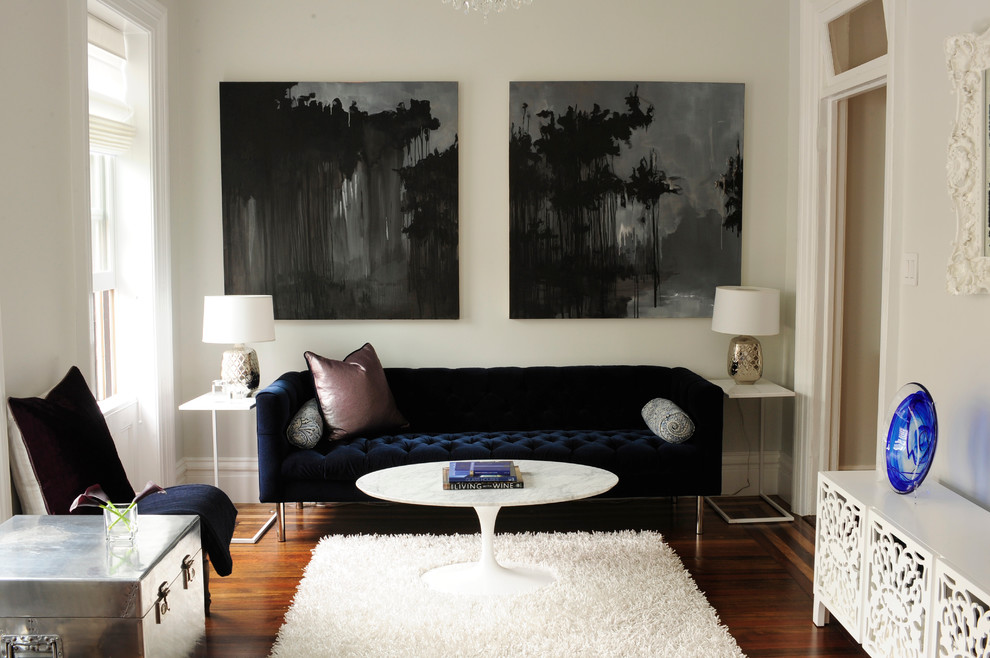 Living room - transitional living room idea in New York with white walls