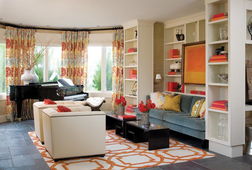 Inspiration for a timeless living room library remodel in Denver