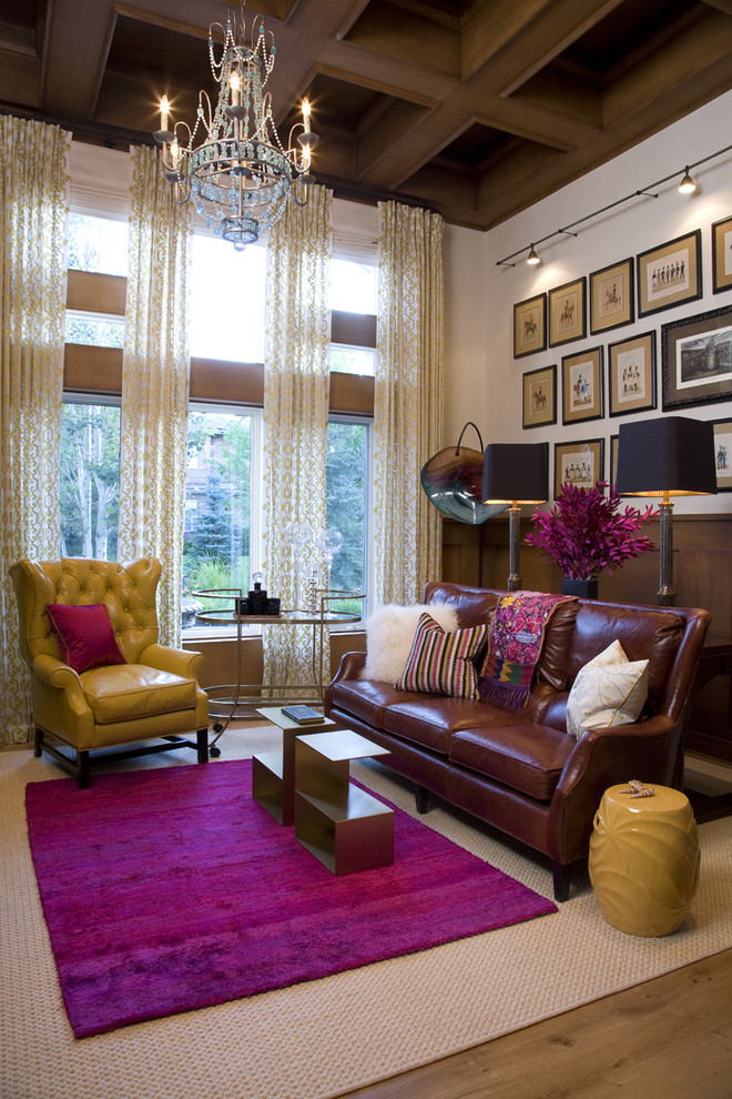 Living room - traditional medium tone wood floor living room idea in Denver with white walls