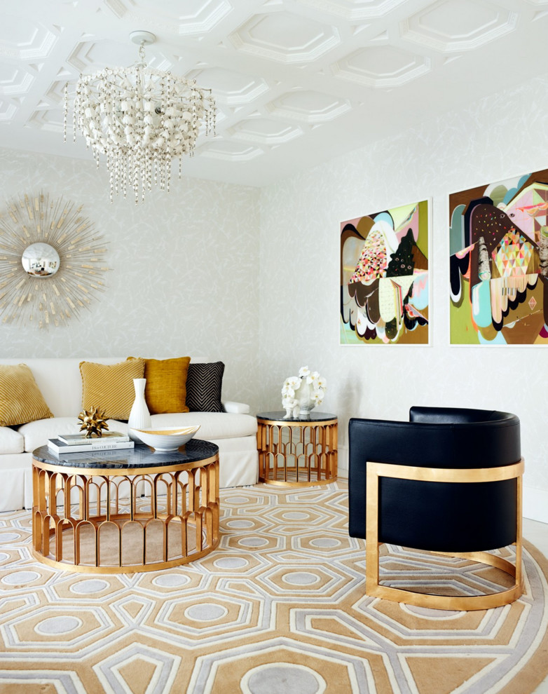 This is an example of a mid-sized contemporary formal living room in Perth with carpet.