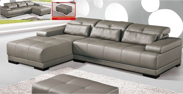 Grey all leather sectional sofa modern living room - Houzz living rooms with sectionals ...