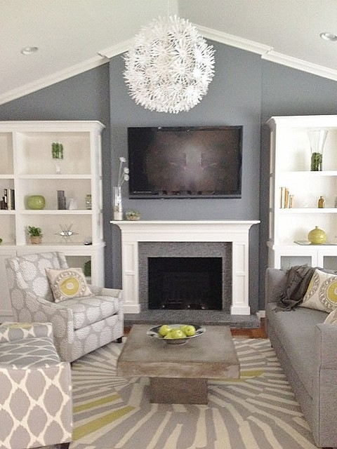 Grey And Green Living Contemporary Room