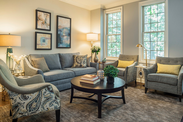 Grey Blue And Gold Traditional Living Room Chicago By Bon