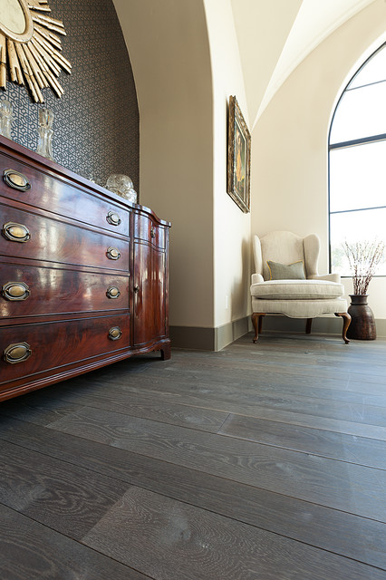 Grey Floor White Oak Traditional Living Room Austin