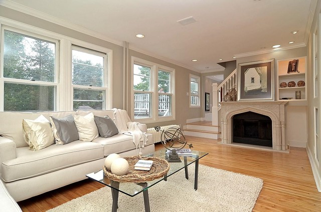 Grey Gray And White Living Room With Marble Fireplace American Traditional
