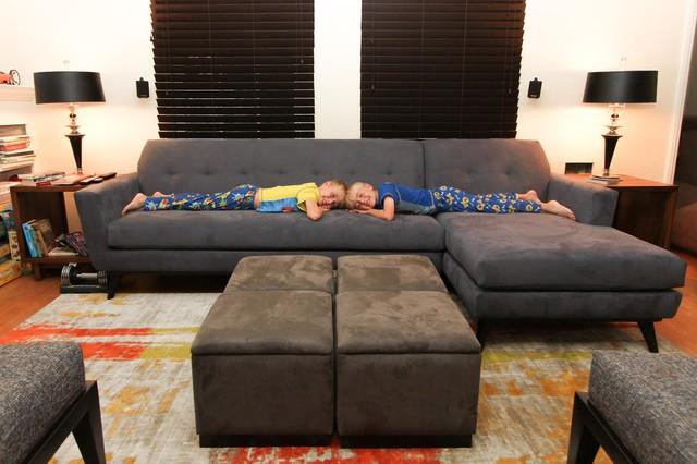Grey Suede Modern Sectional w/ Kids | The Sofa Company ...