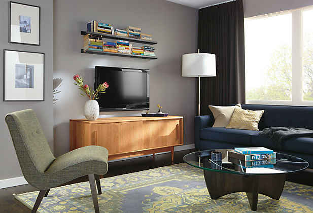 Grove Media Cabinet Room with Delia Chair by R&B modern-living-room