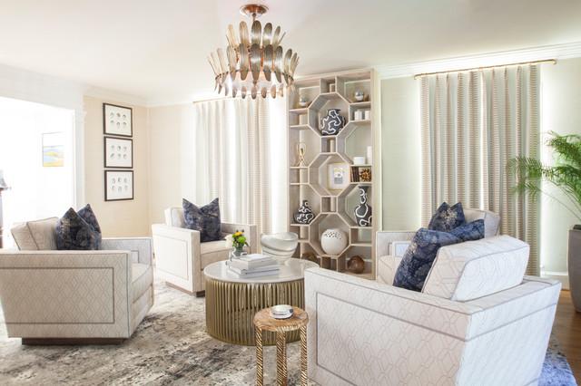Living room - transitional brown floor and dark wood floor living room idea in Charlotte with beige walls