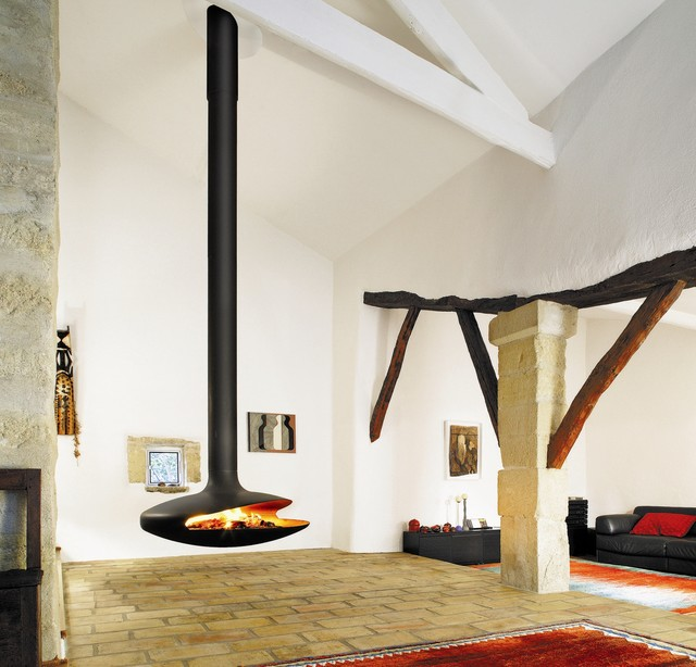 Throw your interior design a curve or stick with more traditional lines — these hanging and wall-mounted fireplaces are all in good form