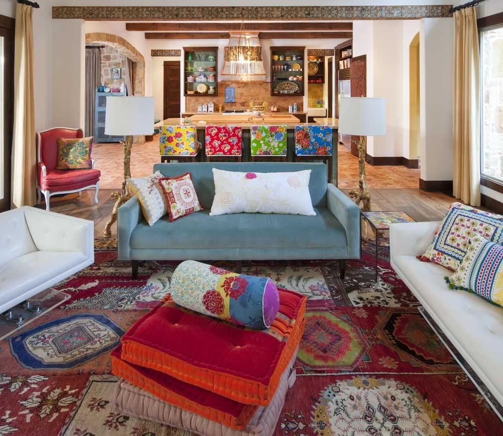 Living room - large southwestern open concept living room idea in San Diego with white walls