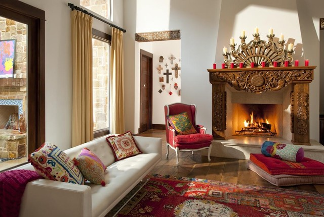 Hacienda Chic Residence Southwestern Living Room Dallas by