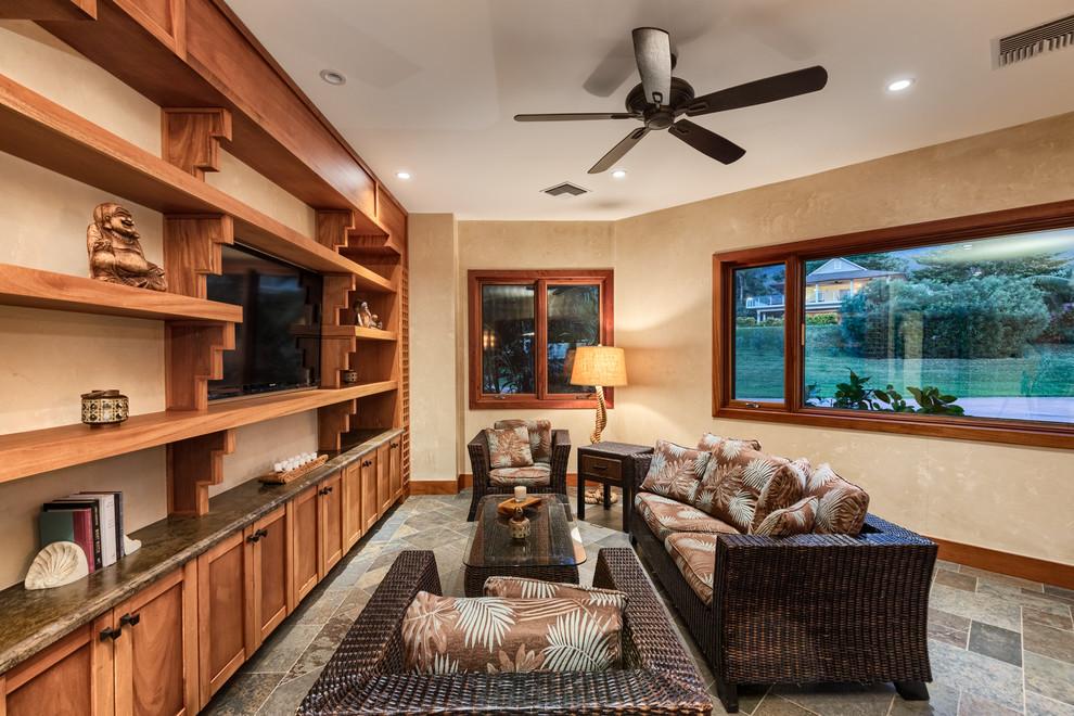 hale ko'olani interior  tropical  living room  orange