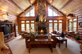 Half log siding with tongue and groove natural knotty pine paneling - Rustic - Living Room ...