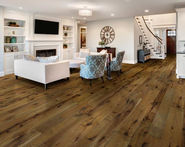 Hallmark Floors Reclaimed Look   ORGANIC 567 OOLONG Hickory Engineered  Hardwood modern-living-room - Hallmark Floors Reclaimed Look ORGANIC 567 OOLONG Hickory