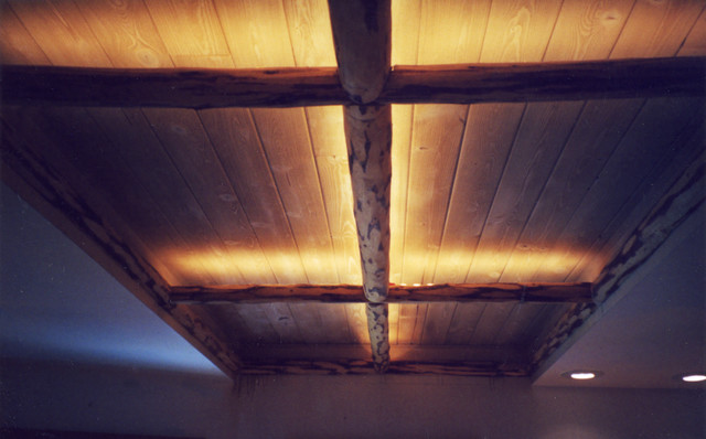 Hallway Ceiling With LED Edge Glow Lighting Behind Cut Log Trims Rustic Living