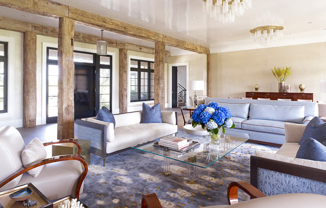 Hampton beach house beach style living room new york for New york style living room ideas