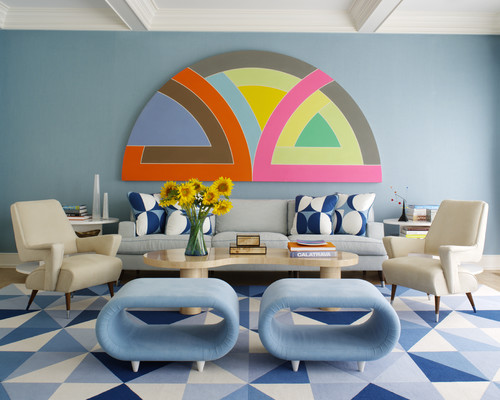 Geometric shapes in a eclectic room