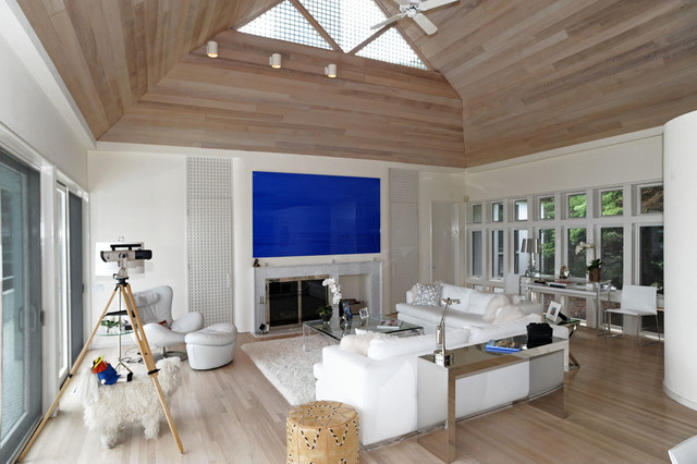 Inspiration For A Contemporary Beige Floor Living Room Remodel In New York  With White Walls